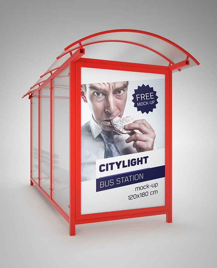 Free bus station citylight mockup