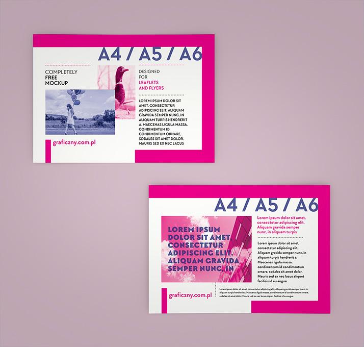 Horizontal leaflet mockup set