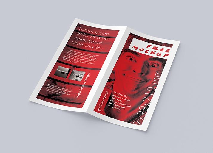 Free Bi-fold DL leaflet mockup
