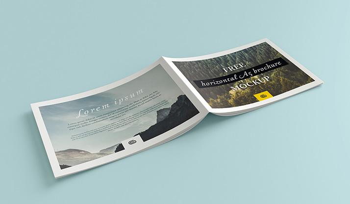 Landscape brochure mockup mockups design free premium for Horizontal brochure design