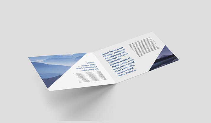 Horizontal bi-fold leaflet mockup