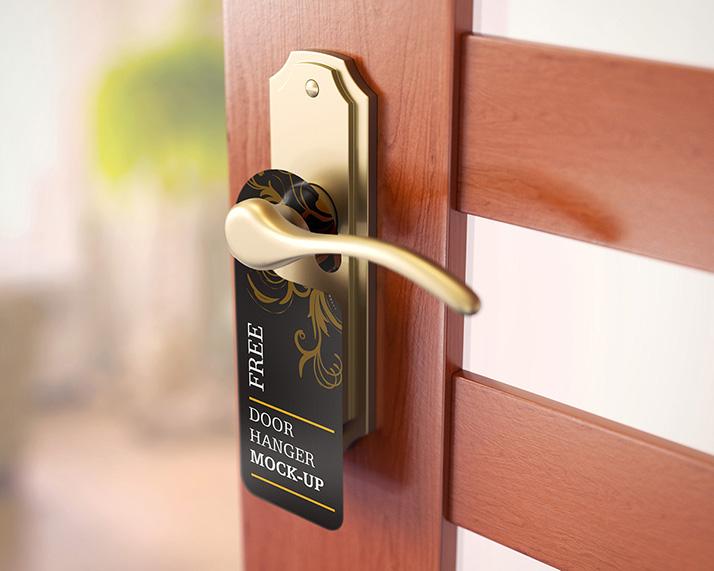 Free door hanger mockups mockups design free premium for Door 2 door leaflets