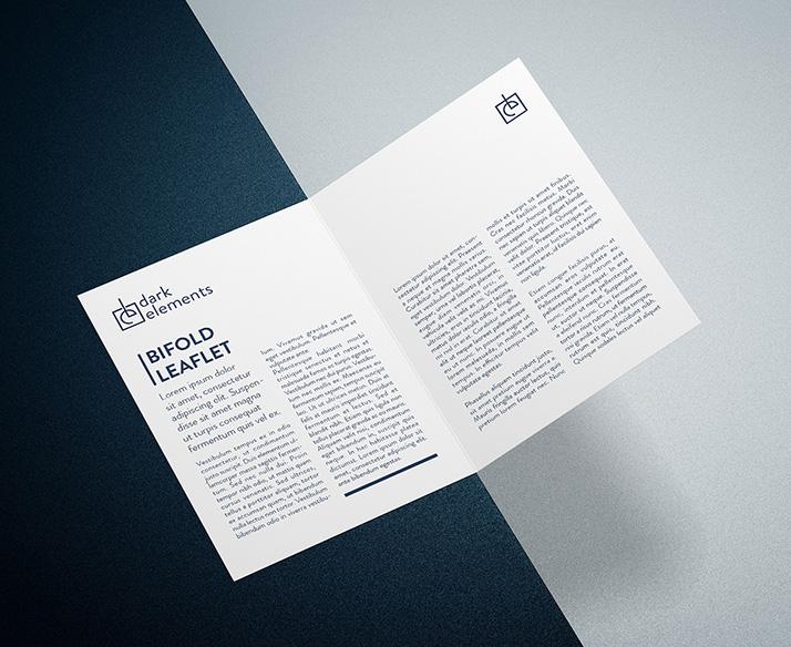 Dark Elements -Bi Fold Leaflet Mockup