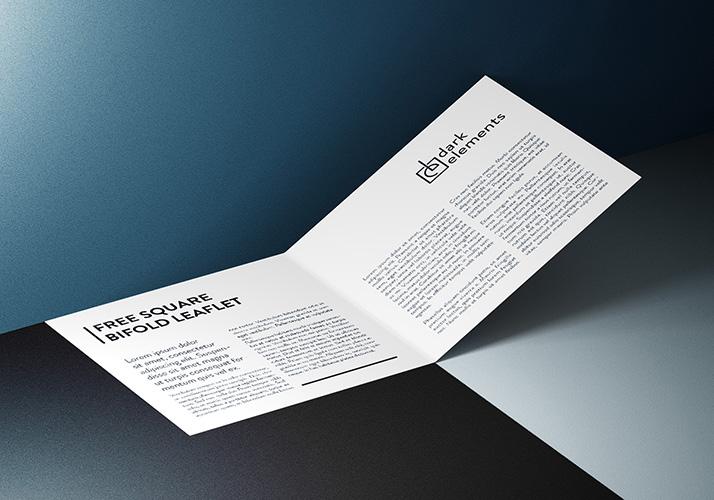 Dark Elements / Square bifold leaflet mockup