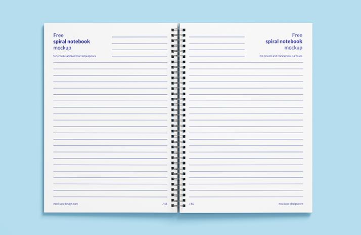 Free spiral notebook mockup