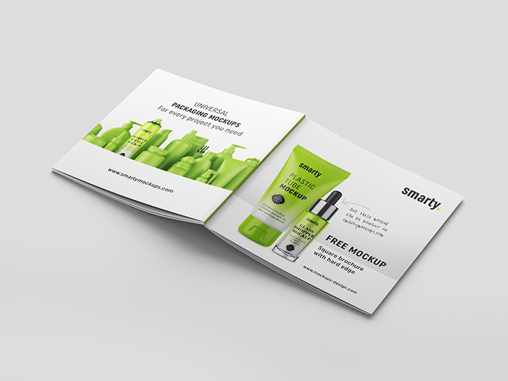 Free square brochure with hard edge mockup