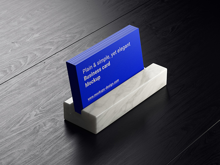 Free business cards on dark wood mockup