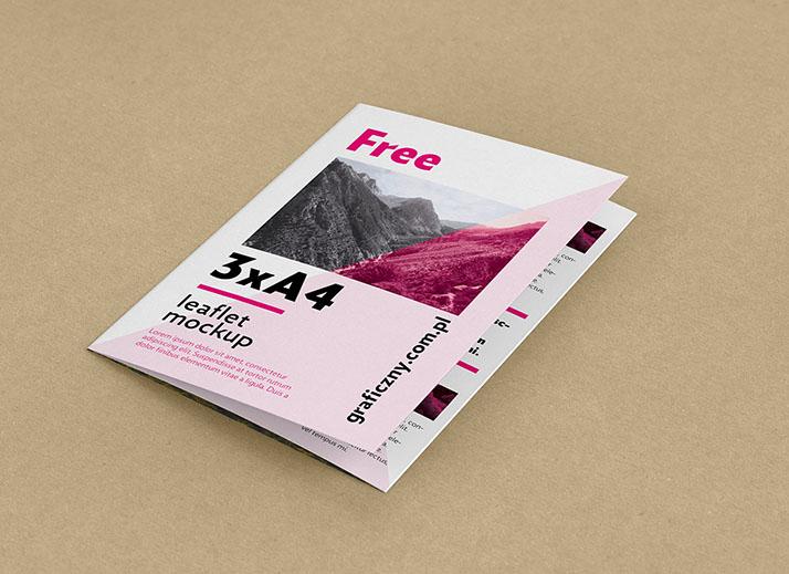 Free trifold leaflet mockup