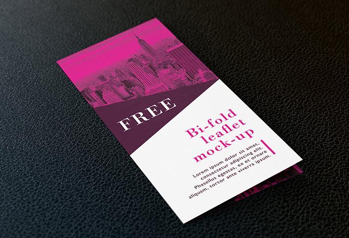 Free bi fold DL leaflet mockup