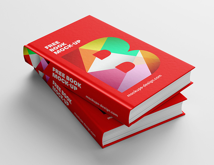 thick red hardcover stacked books psd book mockup