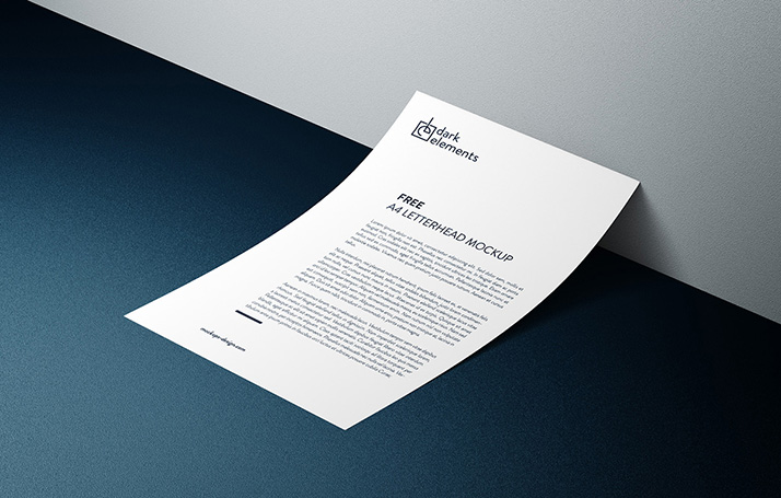 Dark Elements / A4 Letterhead Mockup