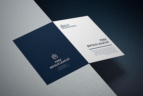 Dark Elements / Bifold Cover Leaflet Mockup