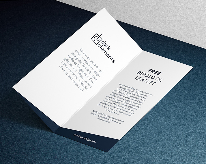 Dark Elements / Bi fold DL leaflet mockup