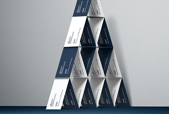 Dark Elements / Business cards / House of cards mockup