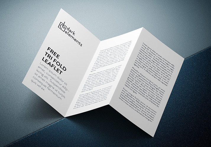 Dark Elements / Trifold leaflet mockup