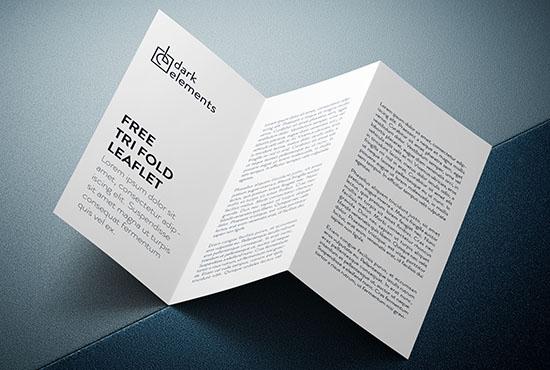 Dark Elements / Trifold leaflet mockup
