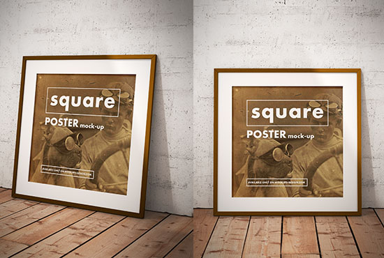 Free square poster mockup