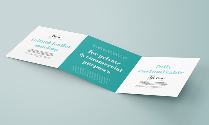 Free trifold square leaflet mockup