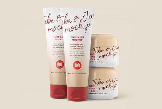 Free cosmetic tube and jar mockup