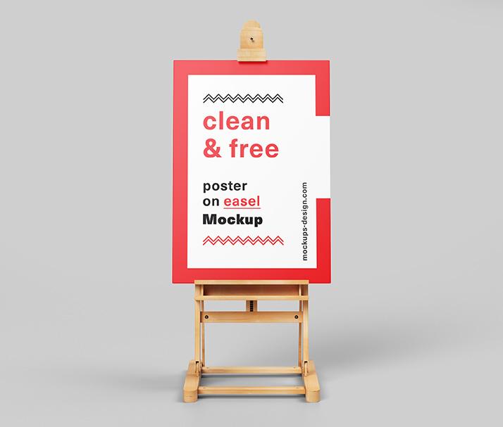 Free poster on easel mockup