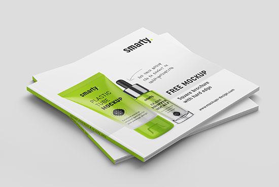 Free square brochure with hard edge mockup