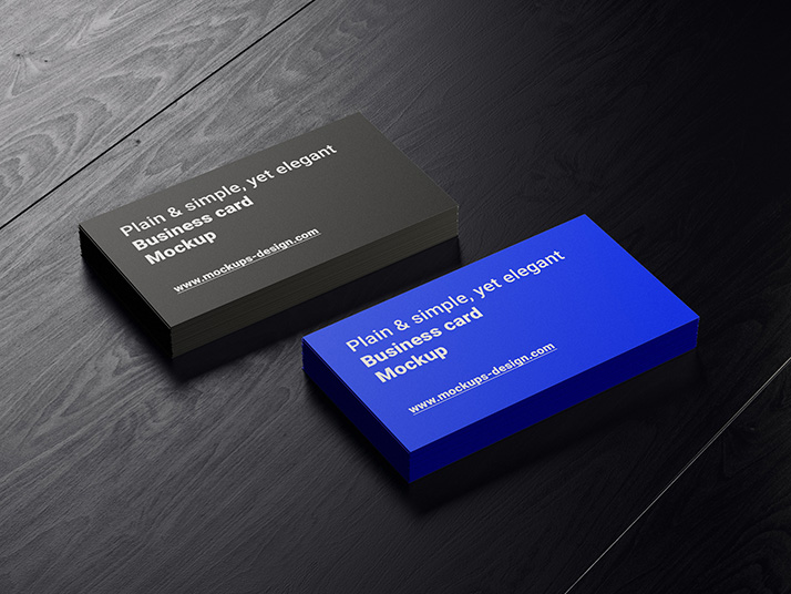 Free business cards on dark wood mockup