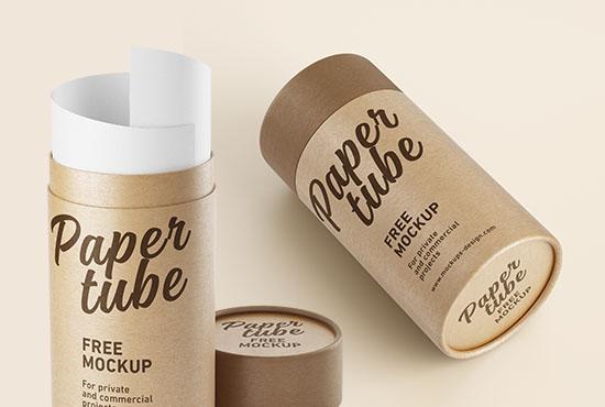 Free paper tube mockup