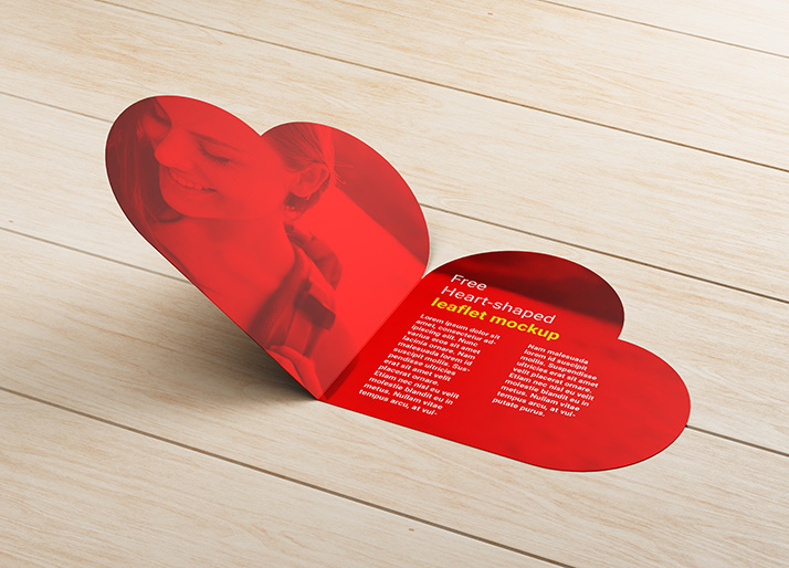 Free heart-shaped leaflet mockup