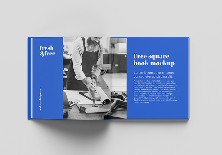 Free square book mokcup