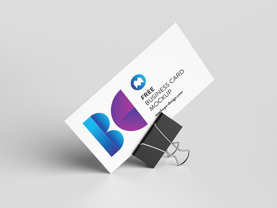 Business card with foldback clip mockup - Mockups Design | Free ...