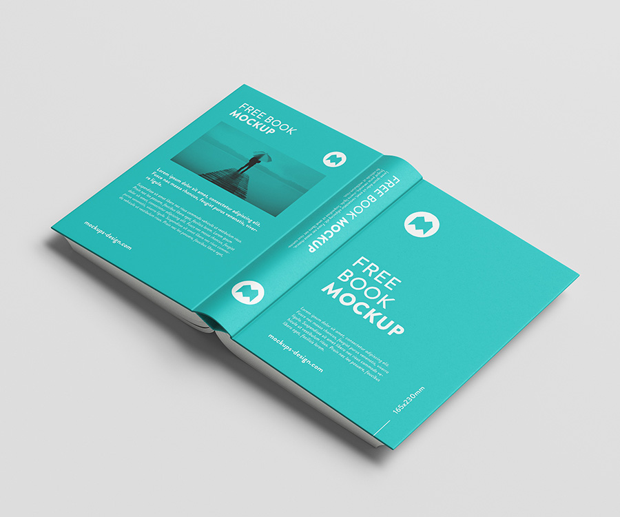 Free thick book mockup