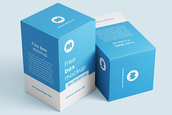 Free box mockups / 80x130x80 mm