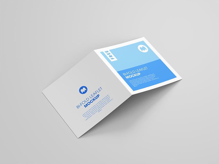 Free bi-fold square leaflet mockup