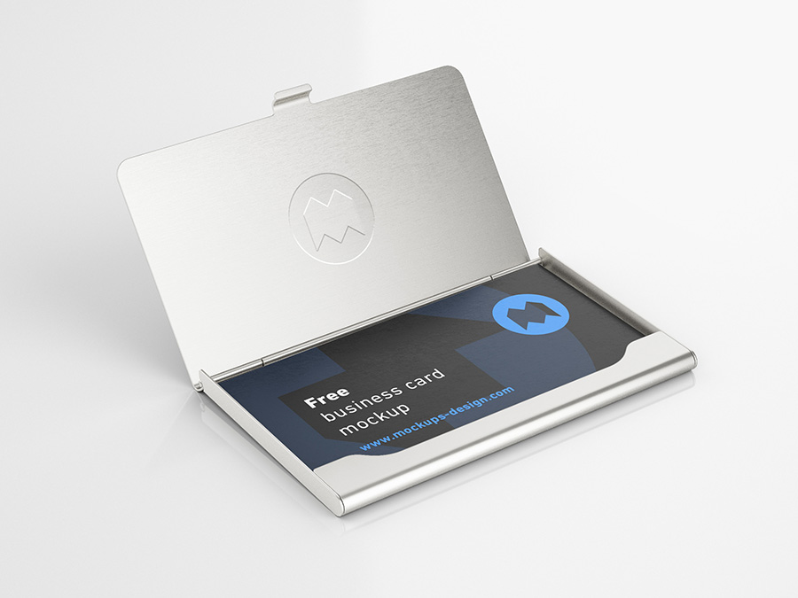 Free business card holder mockup