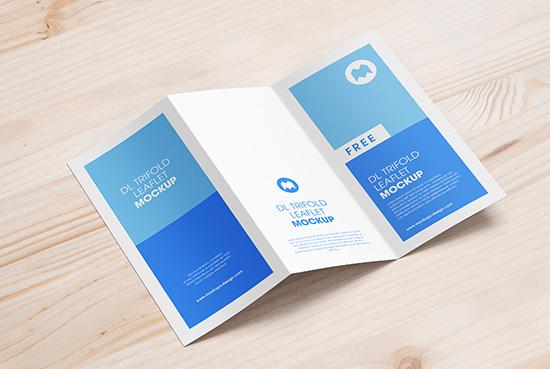 Free trifold DL leaflet mockup