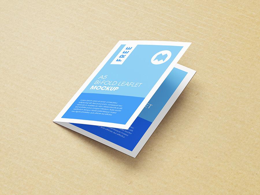Free A5 bi-fold leaflet mockup