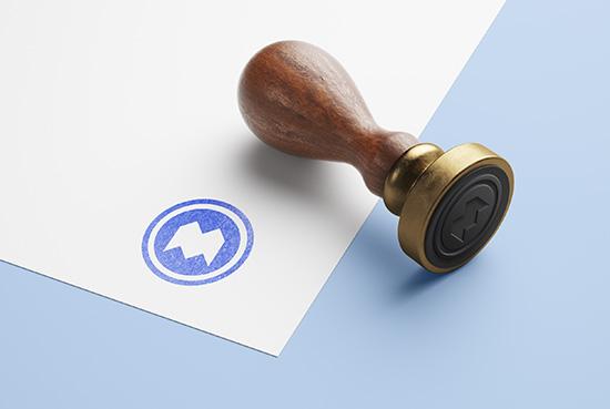 Free wooden stamp mockup