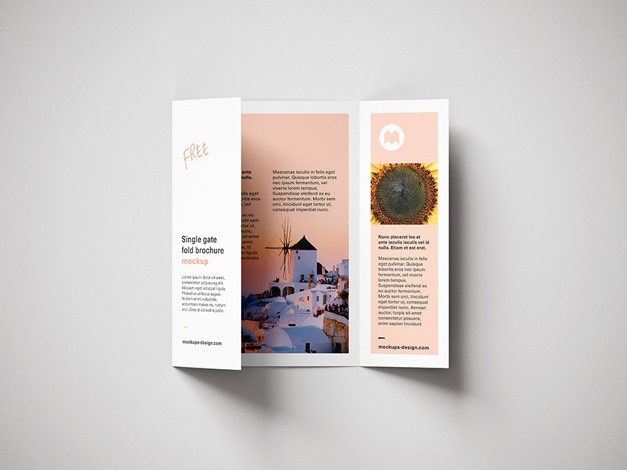 Free single gate fold brochure mockup