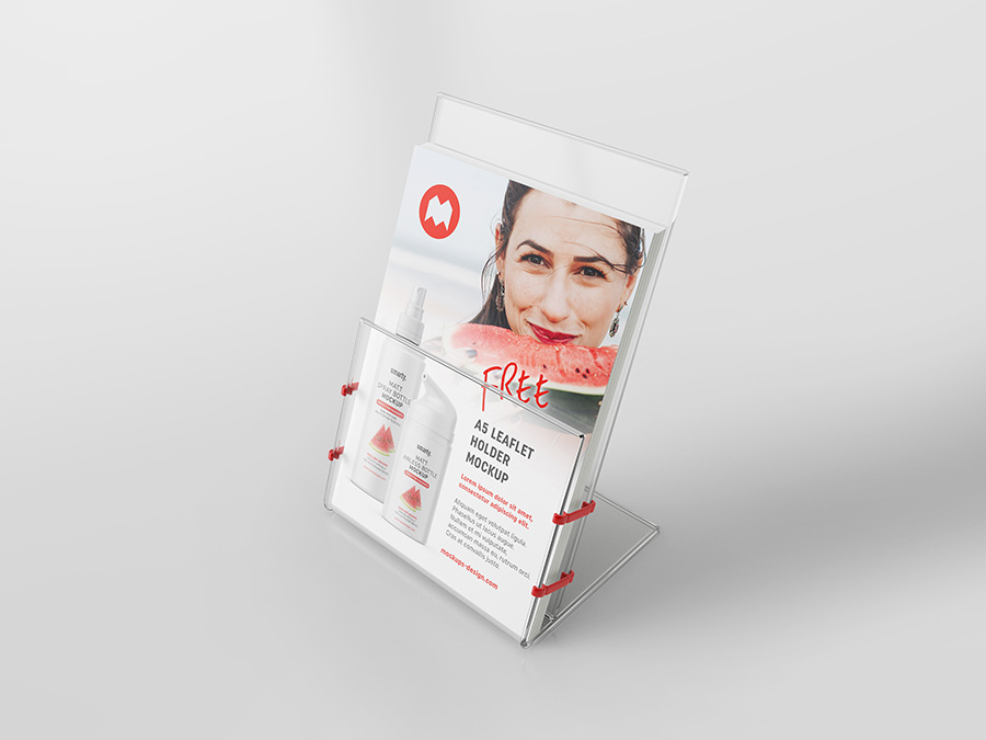 Free transparent leaflet holder mockup / A5