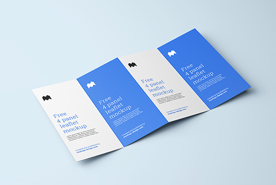 Free 4 fold leaflet mockup