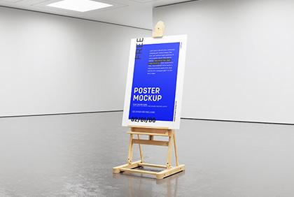 Free gallery easel poster frame mockup