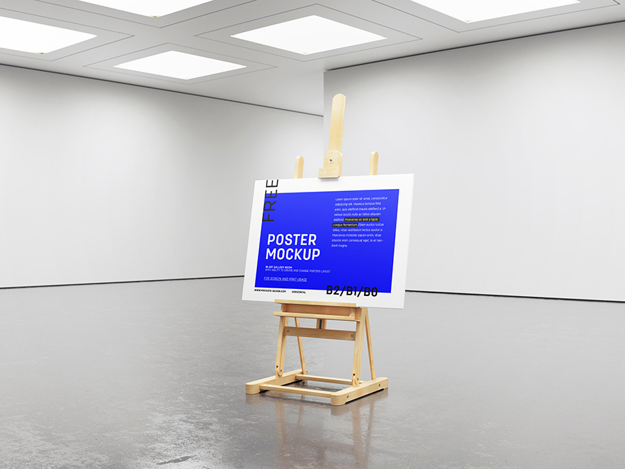 Free gallery easel poster frame mockup