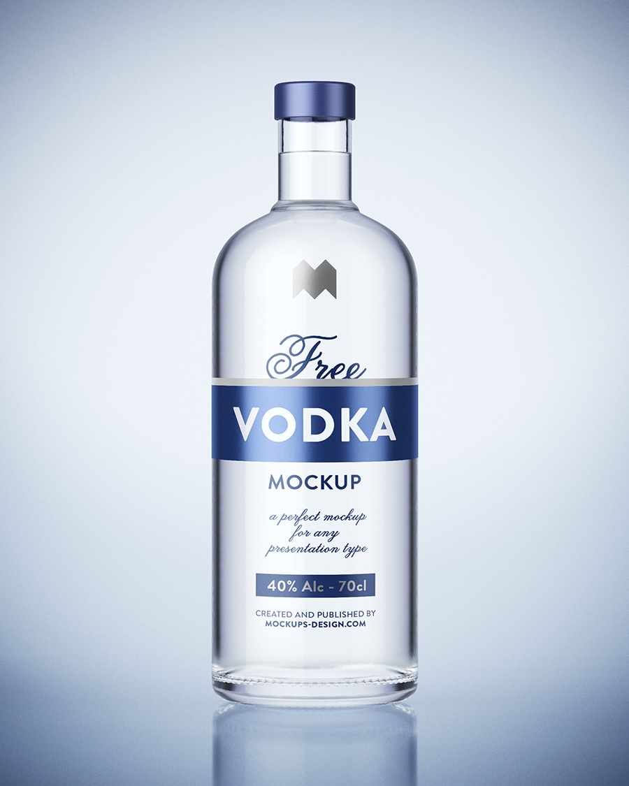 Free vodka bottle mockup