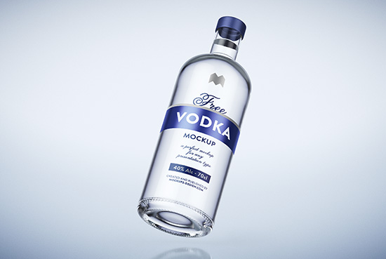 Free vodka bottle mockup