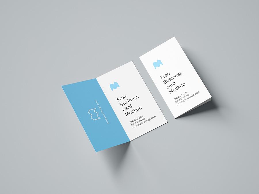 Free folded business card mockup