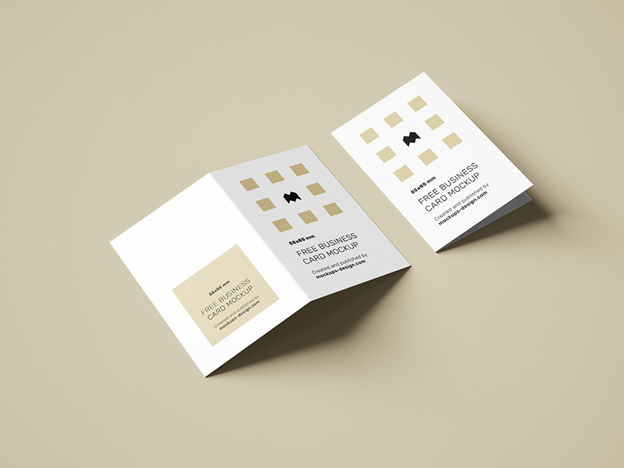 Free folded business cards mockup / 85x55mm
