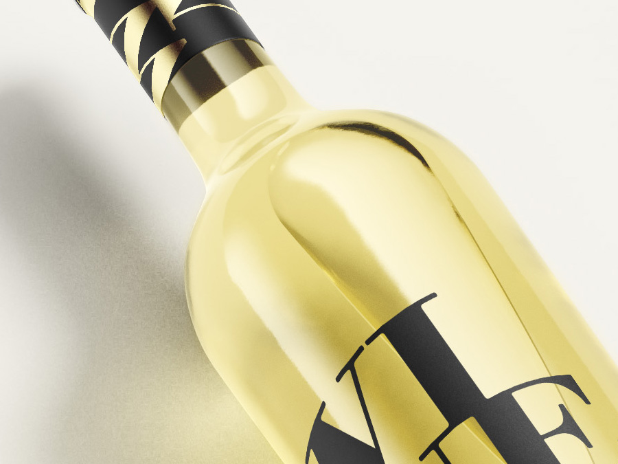 Free white wine bottle mockup