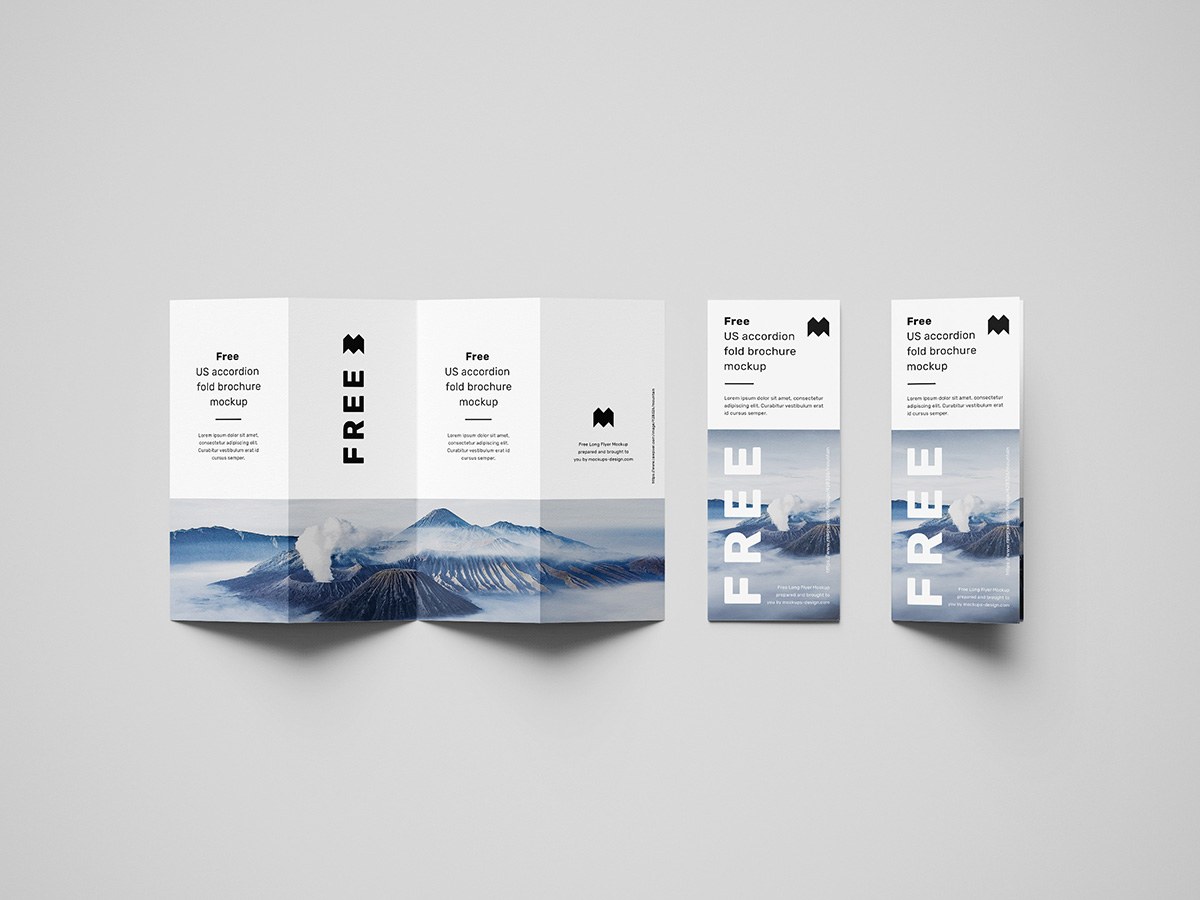 Free accordion brochure mockup