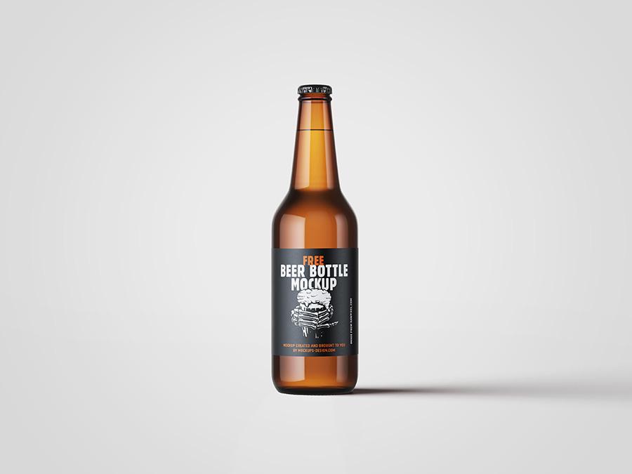 Free beer bottle mockup