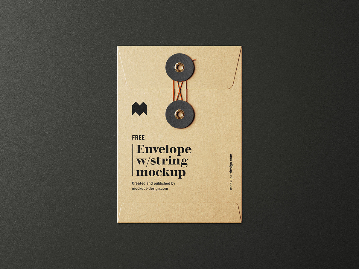 Free envelope with string mockup